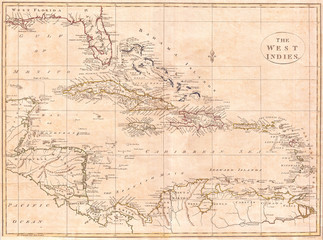 1799, Clement Cruttwell Map of West Indies