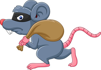 Cartoon rat Thief stealing on the bag and running