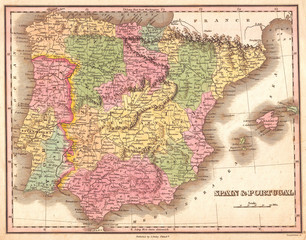 1827, Finely Map of Spain and Portugal