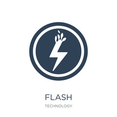 flash icon vector on white background, flash trendy filled icons from Technology collection, flash vector illustration