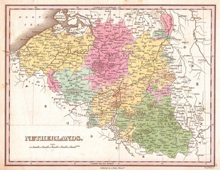 1827, Finley Map of Belgium and Luxembourg, Anthony Finley mapmaker of the United States in the 19th century
