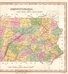 1827, Finley Map of Eastern Pennsylvania, Anthony Finley mapmaker of the United States in the 19th century