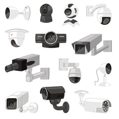 Security camera vector cctv control safety video protection technology system illustration set of privacy secure guard equipment webcam device isolated on white background