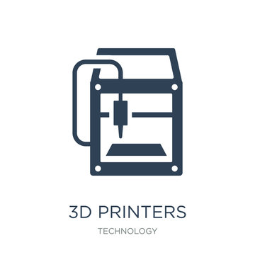 3d printers icon vector on white background, 3d printers trendy filled icons from Technology collection, 3d printers vector illustration
