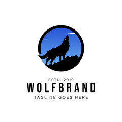 The Wolf Howls to The Moon Logo Design Inspiration, Vector illustration