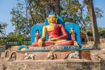Buddha statue at Swayambhunath Stupa, Kathmandu, Nepal.