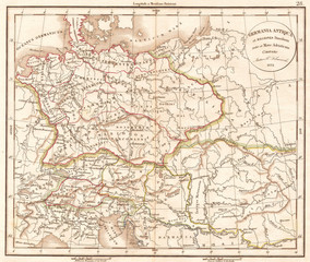 1832, Delamarche Map of Germany in Roman Times