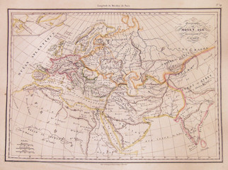 1837, Malte-Brun Map of Europe in the Middle Ages