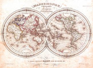 1848, Barbie du Bocage Map of the World in Hemispheres