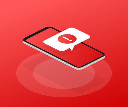 Alert message mobile notification. Danger error alerts, smartphone virus problem or insecure messaging spam problems notifications. Vector illustration.