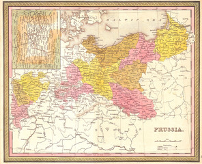 1850, Mitchell Map of Prussia Germany