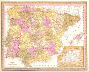 1850, Mitchell Map of Spain and Portugal