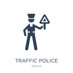 traffic police icon vector on white background, traffic police trendy filled icons from People collection, traffic police vector illustration