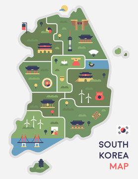 Korea landmark icon map. flat design vector graphic style concept illustration.