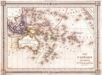 Fototapete - 1852, Bocage Map of Australia and Polynesia