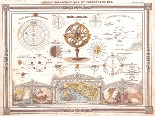 Fototapete - 1852, Vuillemin Astronomical and Cosmographical Chart