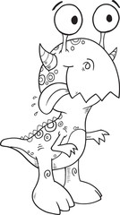 Happy Silly Monster Coloring Page Vector Illustration Art