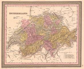 1853, Mitchell Map of Switzerland