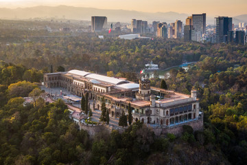 Mexico City, Aerial View of Chapultepec Castle at Sunset