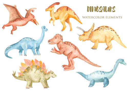 Watercolor dinosaurs prehistoric period. Illustration for kindergarten, wallpaper, cards, invitations, childish design.