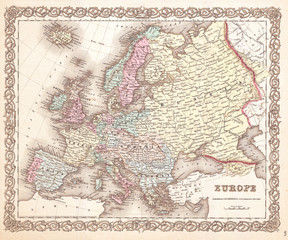 1855, Colton Map of Europe