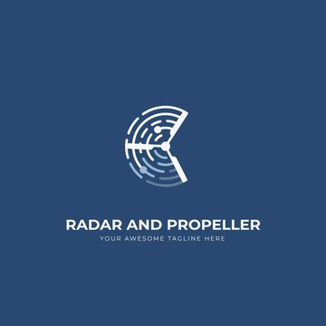 Radar and propeller uav drone logo icon symbol with blue navy background