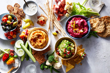 Hummus and Dips with fresh vegetables