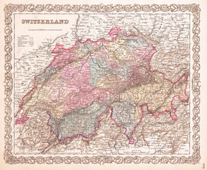 1855, Colton Map of Switzerland