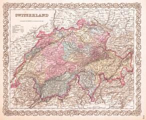 1855, Colton Map of Switzerland