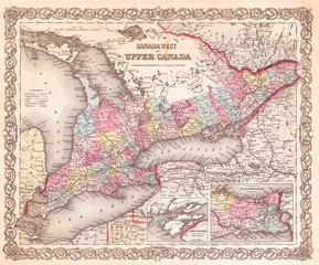 Wall Mural - 1855, Colton Map of Upper Canada or Ontario