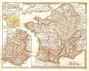 1855, Spruneri Map of France, Gaul, Gallia in Ancient Times