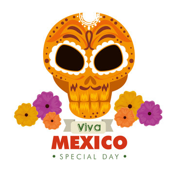 skull ornamental decoration with flowers to mexico event