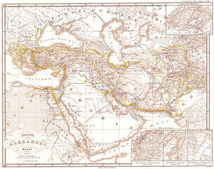 1855, Spruneri Map of the Empire of Alexander the Great