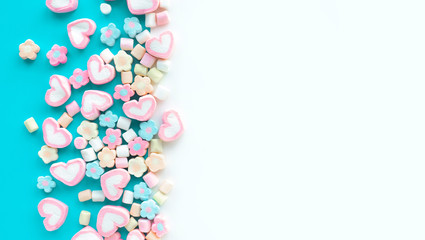 Colorful marshmallow.Party and celebration.decorative  background texture.Flat lay