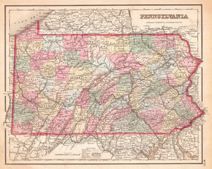 1857, Colton Map of Pennsylvania