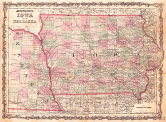 1862, Johnson Map of Iowa and Nebraska