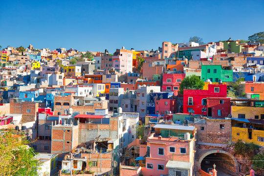 Guanajuato, Mexico, scenic colorful old town streets