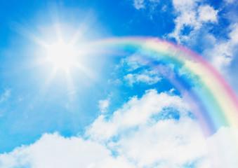 青空と太陽に伸びる虹 Wall mural