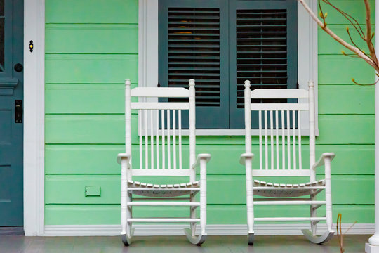 White Rocking Chairs on New Orleans Porch