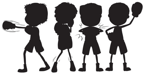 Set of silhouette boxer character