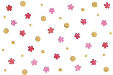 Red, pink and old glitter confetti paper cut background - isolated