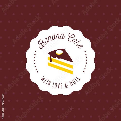 Cake Vector Logo In Vintage Style Dessert Illustration Bakery