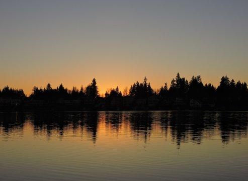 Sunset Reflections on a Lake 01