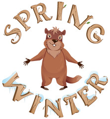Groundhog Day Spring or Winter text greeting card