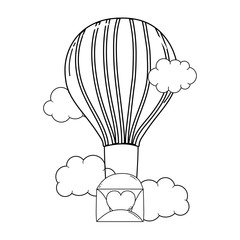 envelope with heart flying in balloon air hot