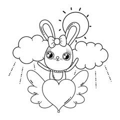 cute rabbit girl valentines day