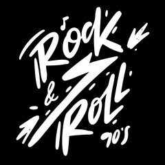 Rock and Roll hand drawn vector lettering. Music Festival logo.