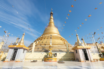 The Botataung Pagoda located in downtown Yangon, Myanmar..Botataung Pagoda was a famous Landmark in Yangon  with Buddha's sacred hair relic in the main paogda