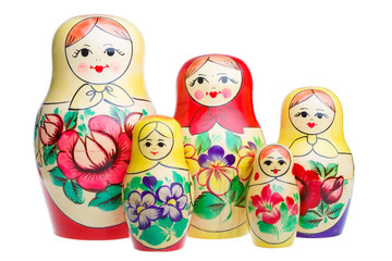 Set of Russian dolls matryoshka isolated on white