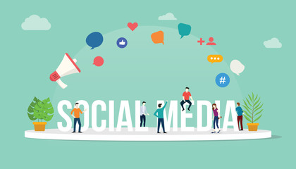 social media concept with team people working together with big text with modern style and icon - vector